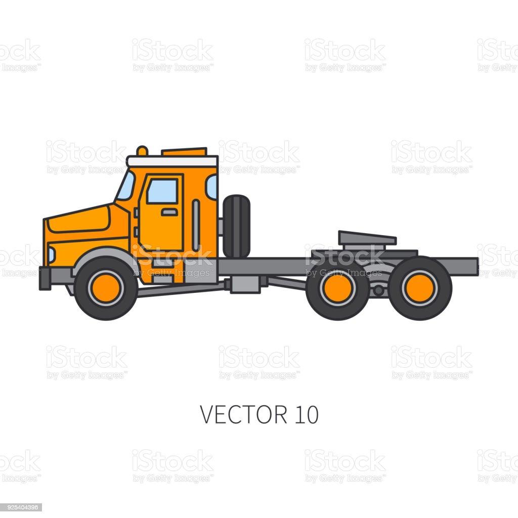 Color Plano Vector Icono Construcción Maquinaria Camión Contenedor ...