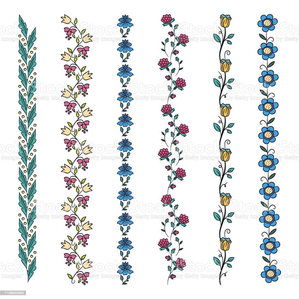Ilustración De Color Floral Bordes Elementos Vectoriales Con