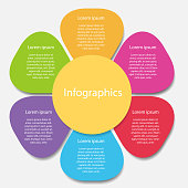 Color floral infographics, menu or options, template for workflow layout, website presentation and design - vector