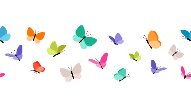 illustrations, cliparts, dessins animés et icônes de color flying papillons modèle sans couture - papillon