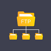 color ftp protocol simple icon. concept of software update, router, teamwork tool management, copy process, info.