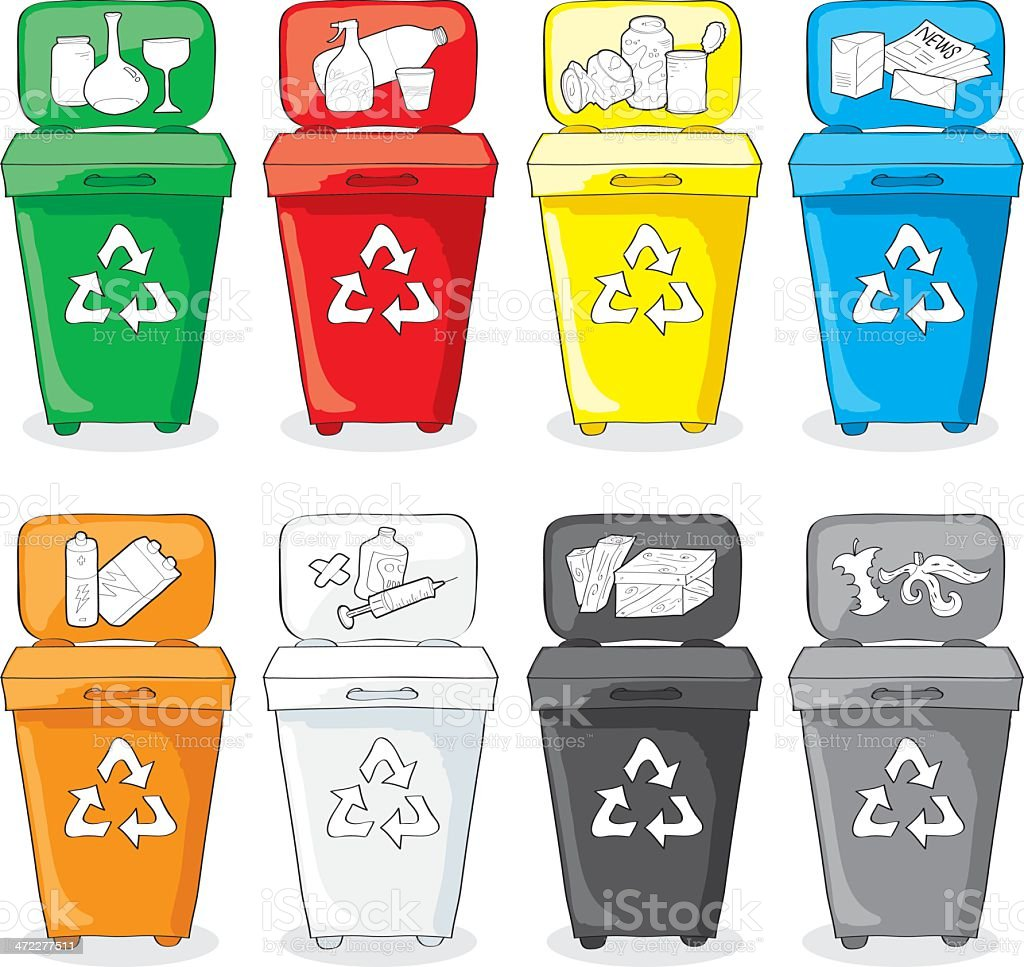 Color Garbages for recycling materials royalty-free stock vector art