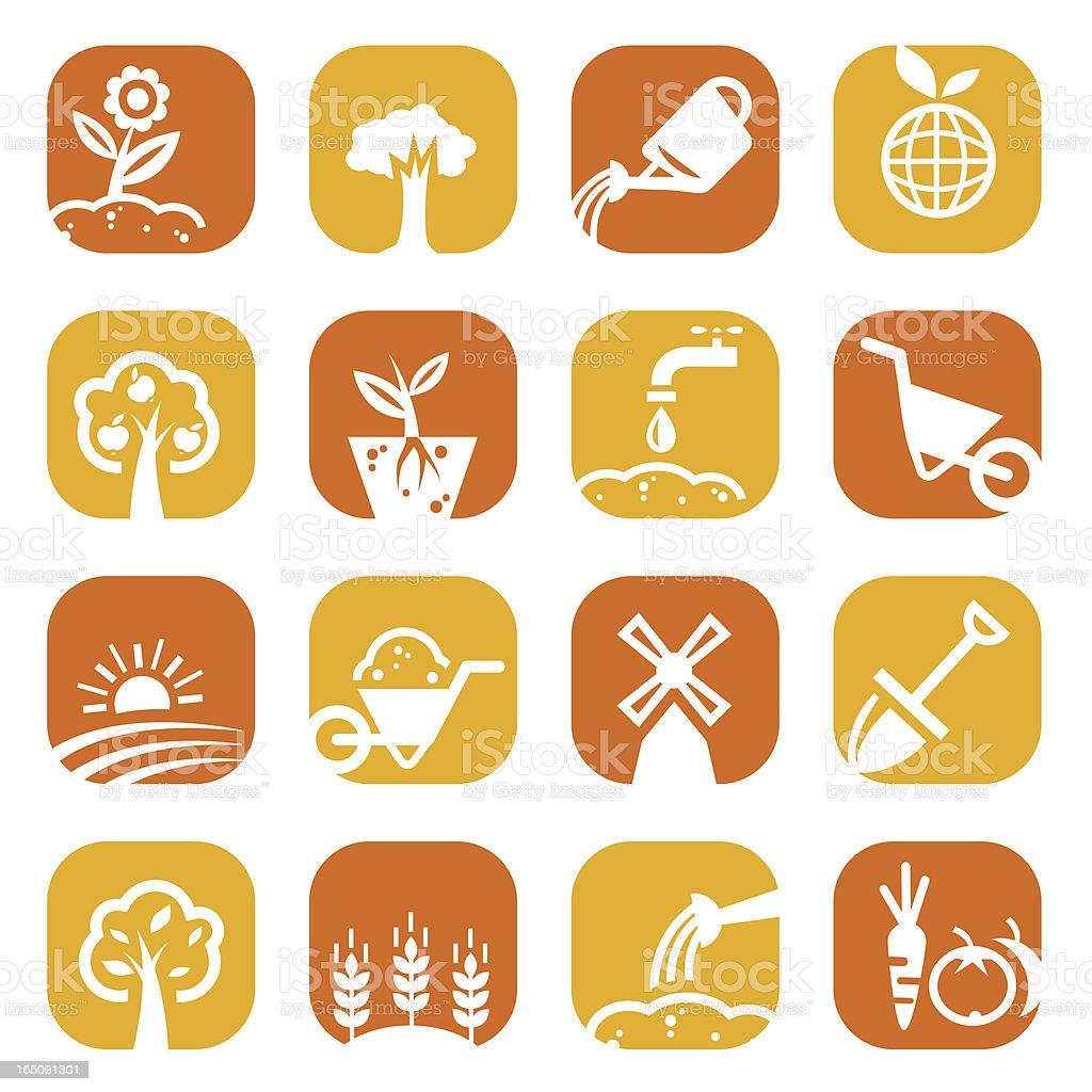 color gardening icon set royalty-free stock vector art