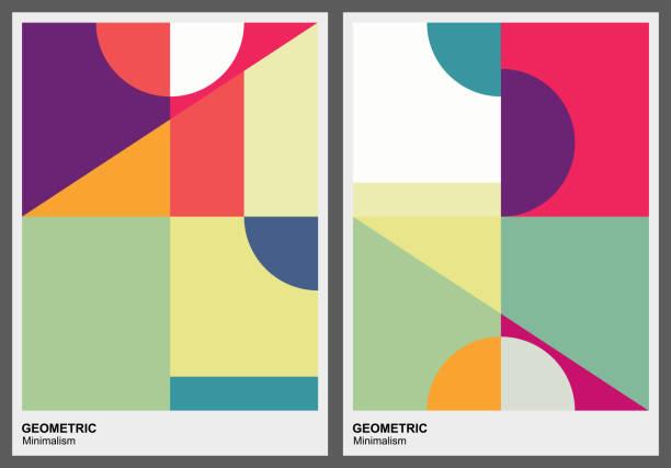 색상 기하학적 패턴 배경 - 기하 stock illustrations