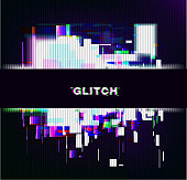 Color glitch background. Distortion effects for advertising. Vector illustration