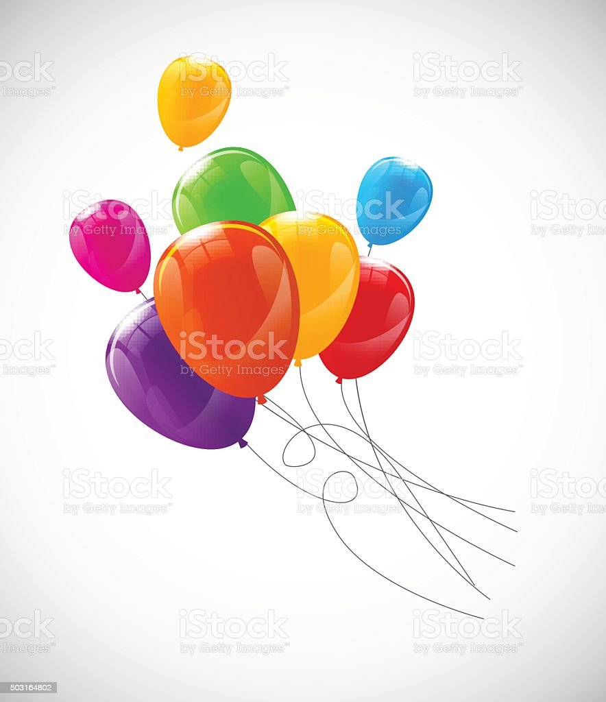 Color Glossy Balloons Background Vector Illustration vector art illustration
