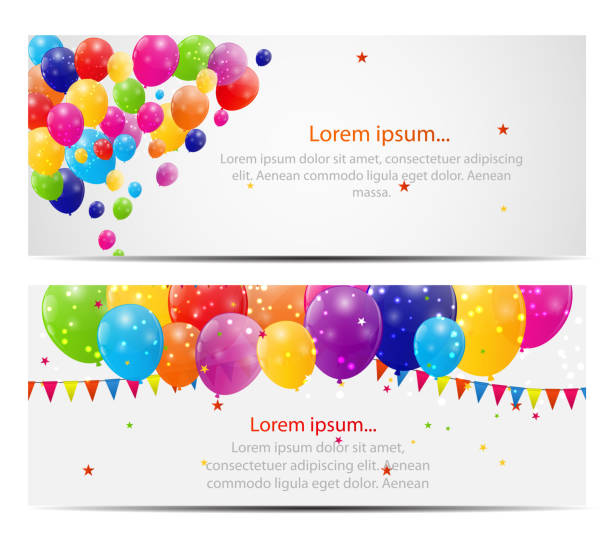 Color glossy balloons card background vector illustration Color glossy balloons card background vector illustration birthday borders stock illustrations