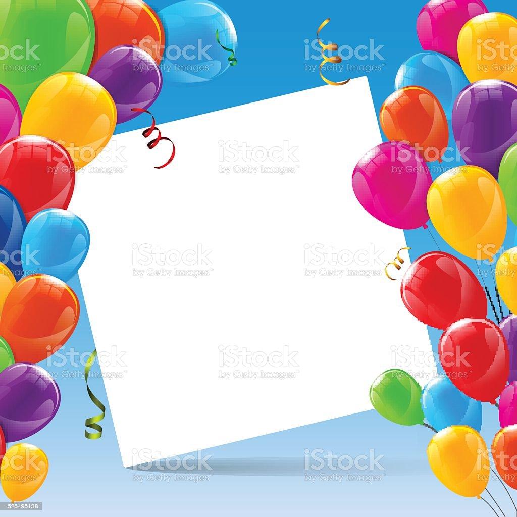 Color Brillante Feliz Cumpleaños Globos Banner De Fondo - Arte ...