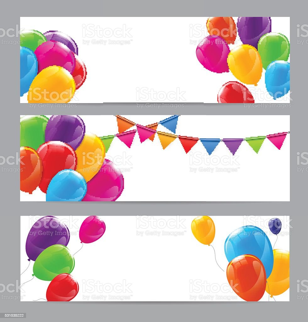 color glossy happy birthday balloons banner background stock