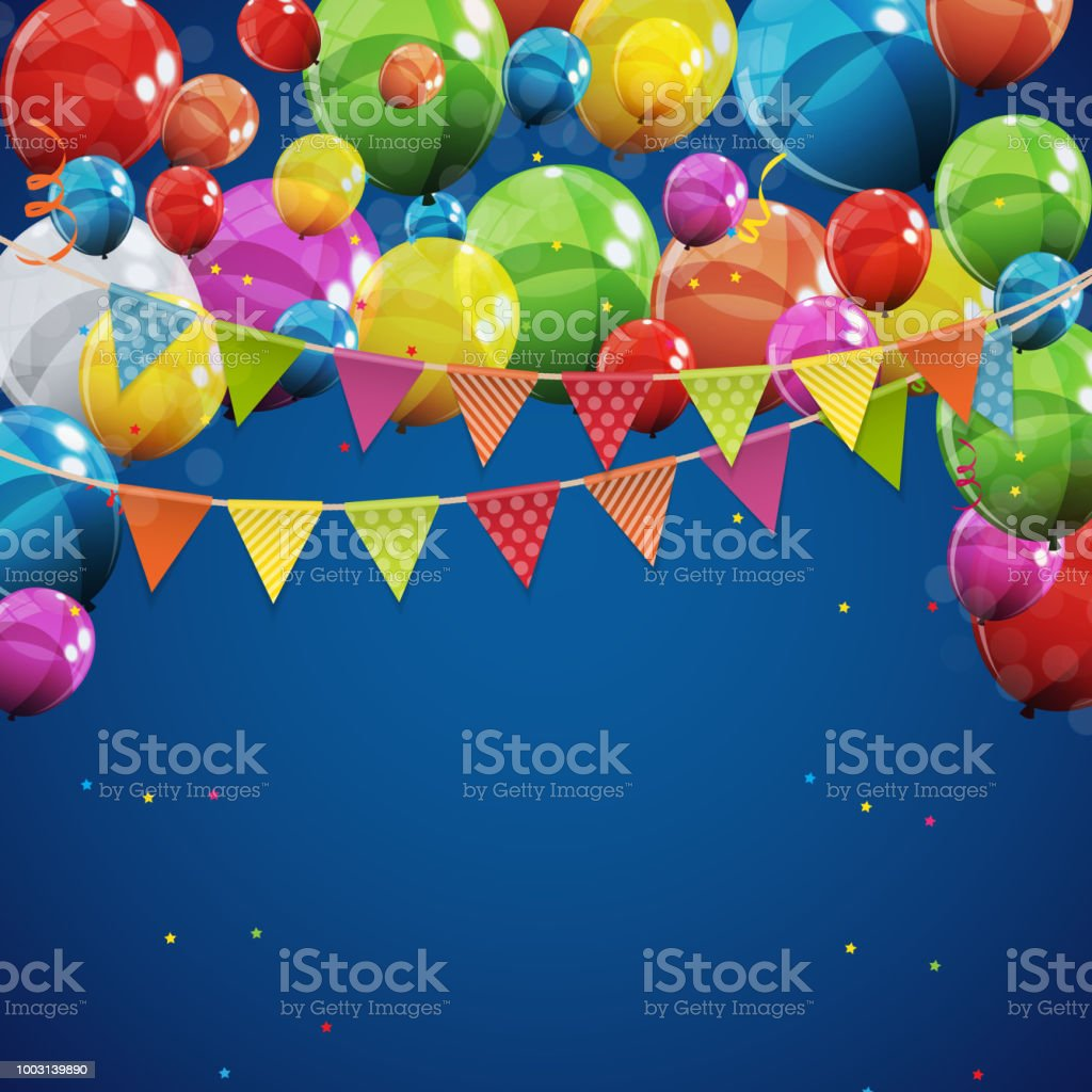 Color Glossy Happy Birthday Balloons Banner Background Vector Illustration Royalty Free