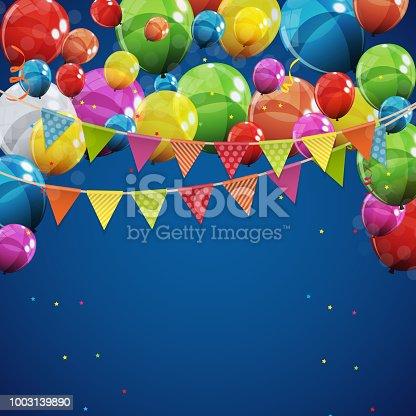 Farbe Glanzend Happy Birthday Ballons Banner Hintergrund Vektorillustration Stock Vektor Art Und Mehr Bilder Von Abstrakt 1003139890
