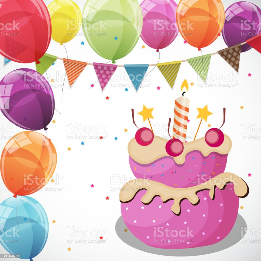Color Glossy Happy Birthday Balloons Flags And Cake Banner Back Lizenzfreies