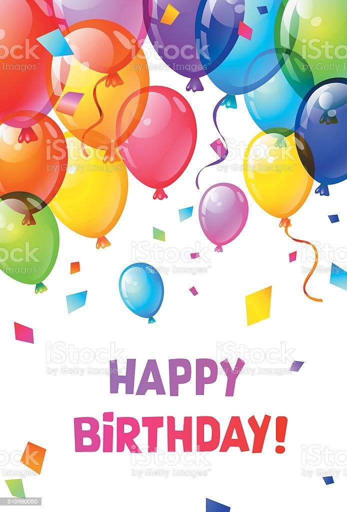 Color Glossy Happy Birthday Balloons Stock Vektor Art Und Mehr