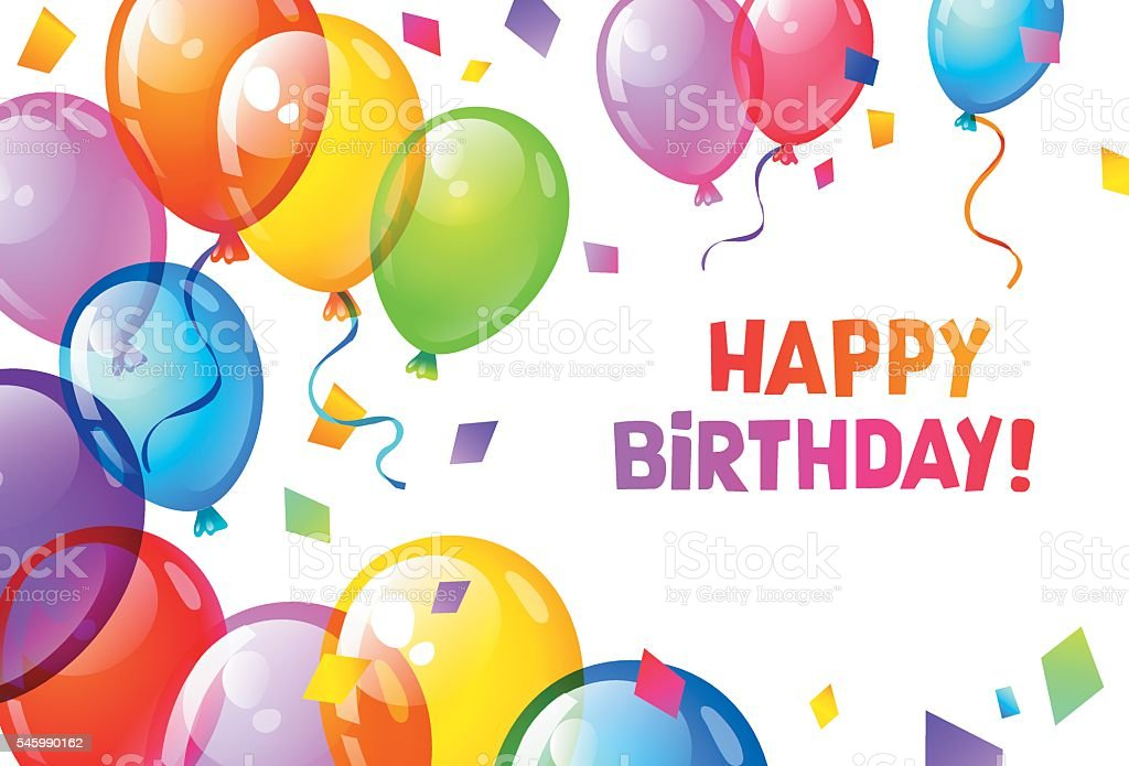 Color Glossy Happy Birthday Balloons Lizenzfreies Stock Vektor Art Und Mehr
