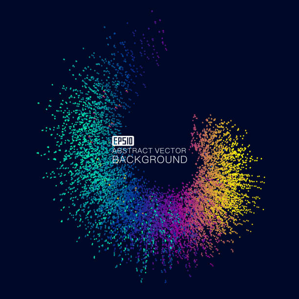 color gradient dots make up the abstract background of spiral light - rytm stock illustrations