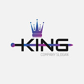 Color gradient flat icon King crown silhouette with sword and text. Vector minimal illustration of identity icon for shop, app store, elegant boutique, sign for beauty saloon or emblem for fitness