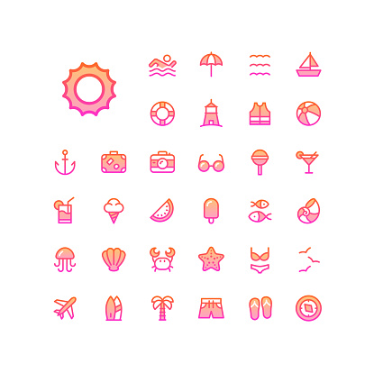33 Color Gradient Summer Line Icons