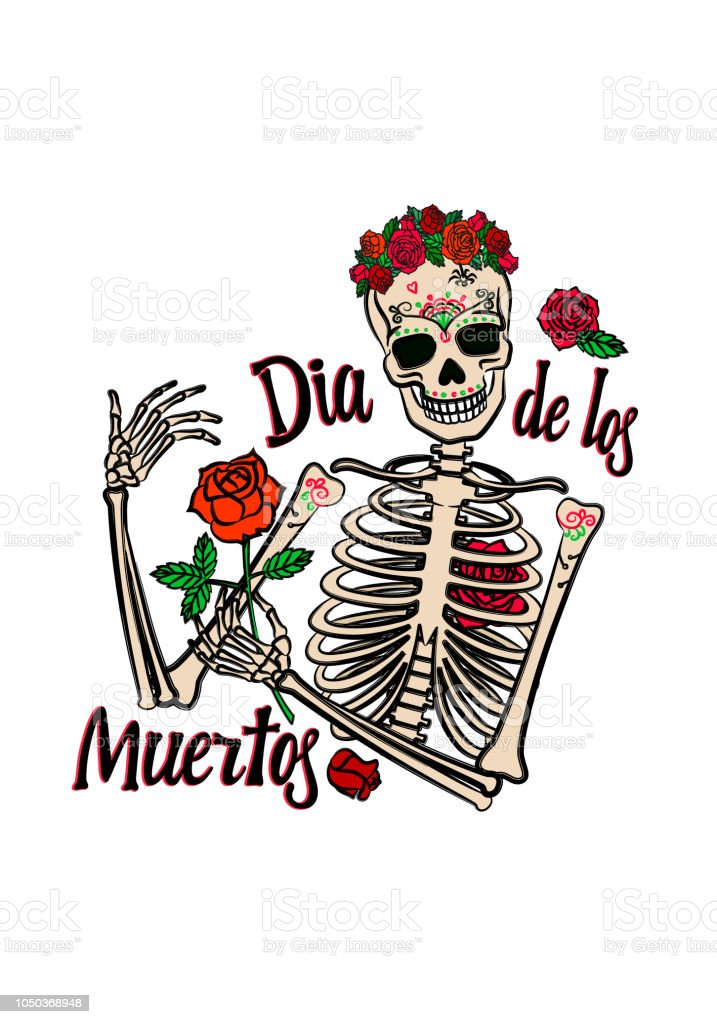 Color Graphic Of Human Woman Skeleton With Smiling Skull