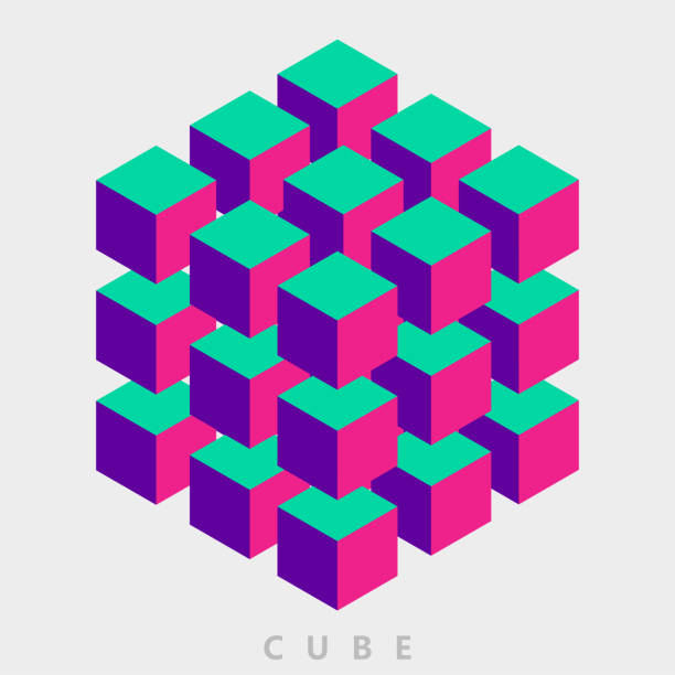 color group of cube pattern color group of cube pattern cube shape stock illustrations