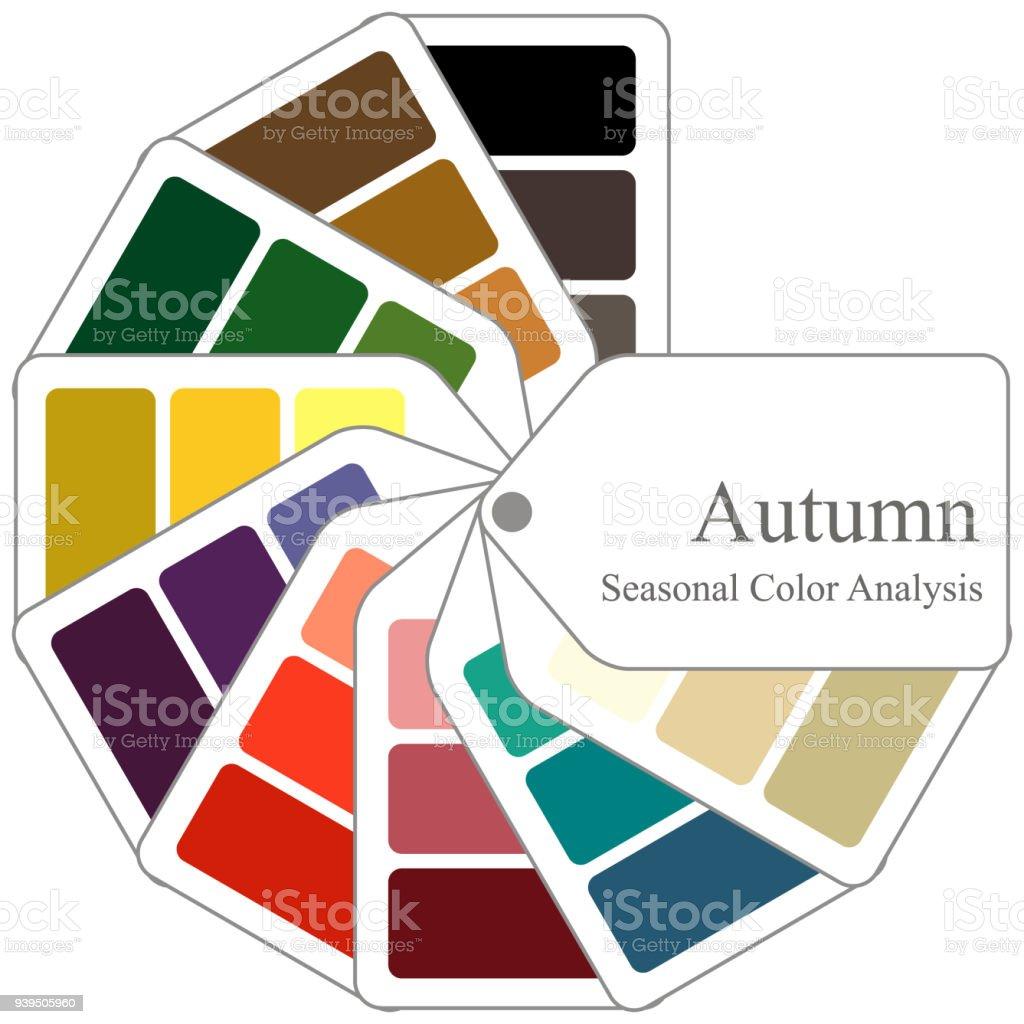 Farbhilfe Saisonale Farbpalette Analyse Fur Herbsttyp Stock Vektor