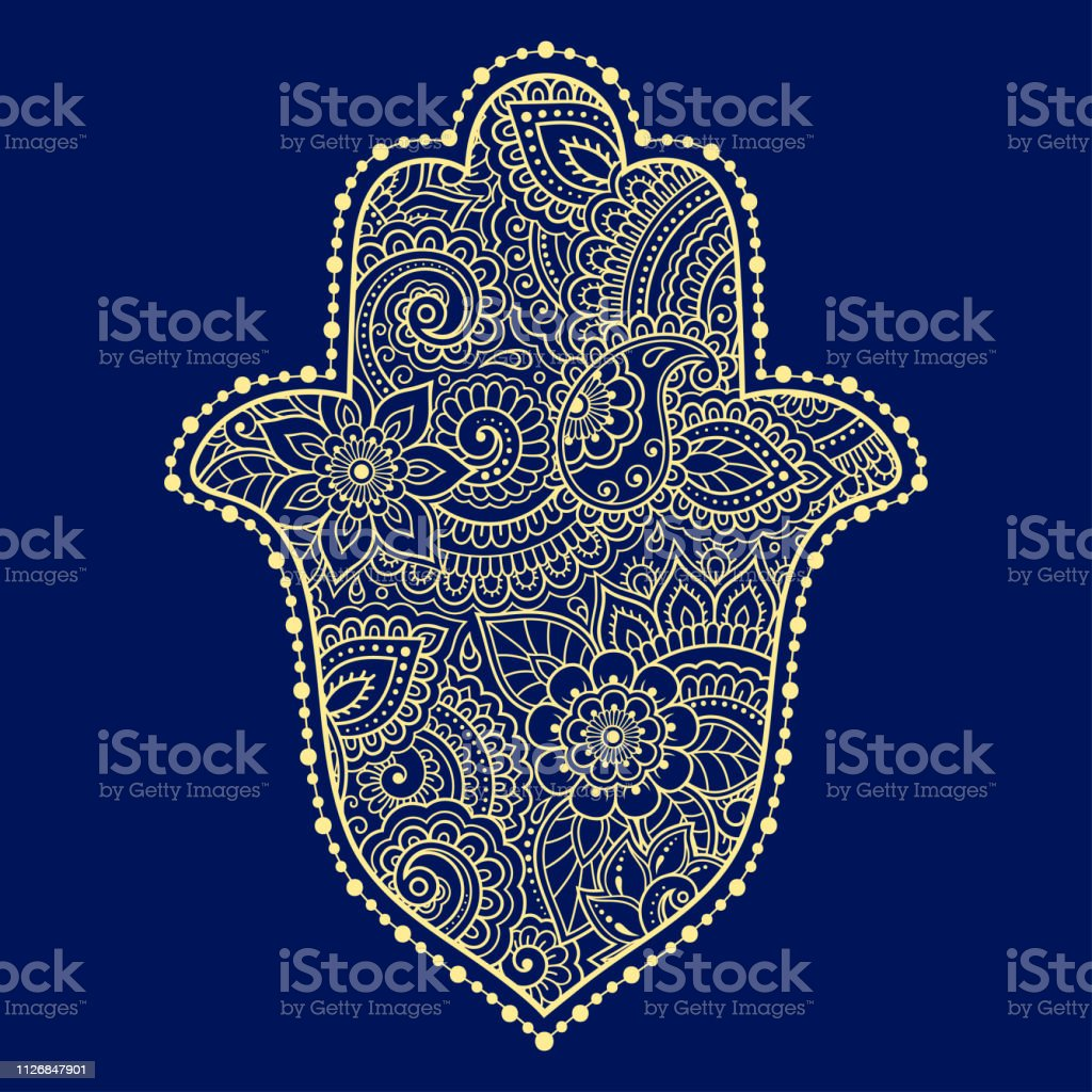 16522cca Color Hamsa hand drawn symbol on flower ornament. Decorative pattern in  oriental style for the interior decoration and henna drawings.