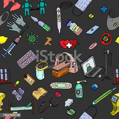 istock color hand drawn medicine doodle pattern 1304565236