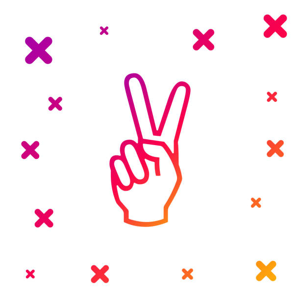 ilustrações, clipart, desenhos animados e ícones de mão colorida mostrando dois ícones de dedo isolados no fundo branco. sinal de mão da vitória. gradiente formas dinâmicas aleatórias. ilustração vetorial - desenhos aleatórios e à mão livre