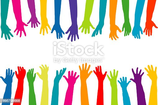 istock Color hands silhouettes 895705668