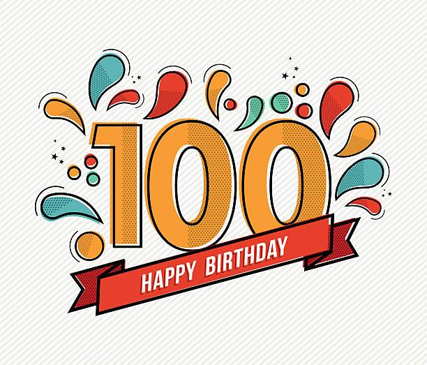 bildbanksillustrationer, clip art samt tecknat material och ikoner med color happy birthday number 100 flat line design - nummer 100