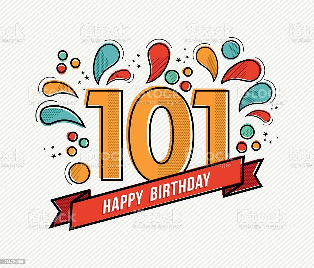 Farbe Herzlichen Glückwunsch zum Geburtstag Zahl 101 flache Linie design – Vektorgrafik