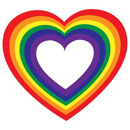LGBT color heart. Rainbow colored heart. Gay Pride. Sticker, patch, T-shirt print, logo design. Lesbian, gay, bisexual, transgender rainbow flag vibrant. Vector