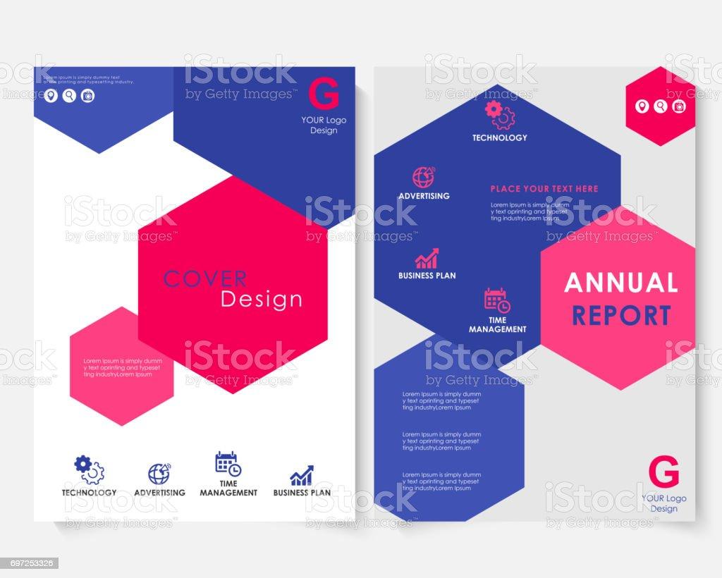 Color Hexagon Annual Report Cover Design Template Vector. Brochure Concept  Presentation Website Portfolio. White  Advertising Brochure Template