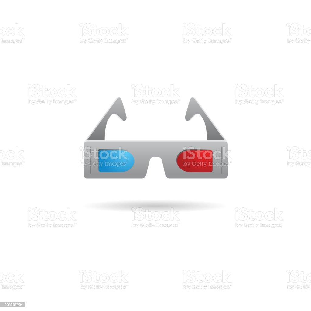 Color Icon - 3D glasses vector art illustration