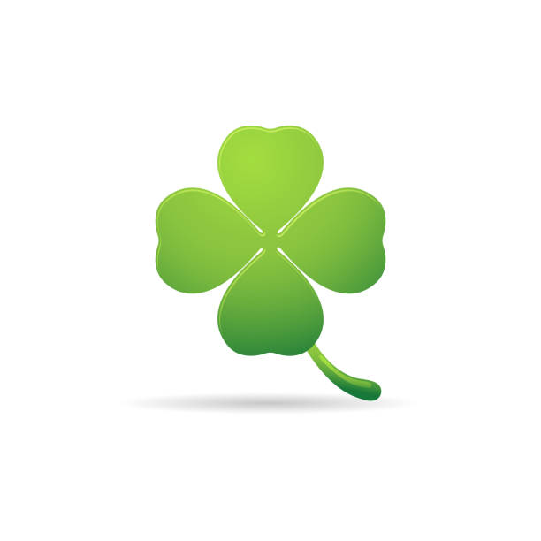 Color Icon - clover Clover icon in color. Nature plant green four people stock illustrations