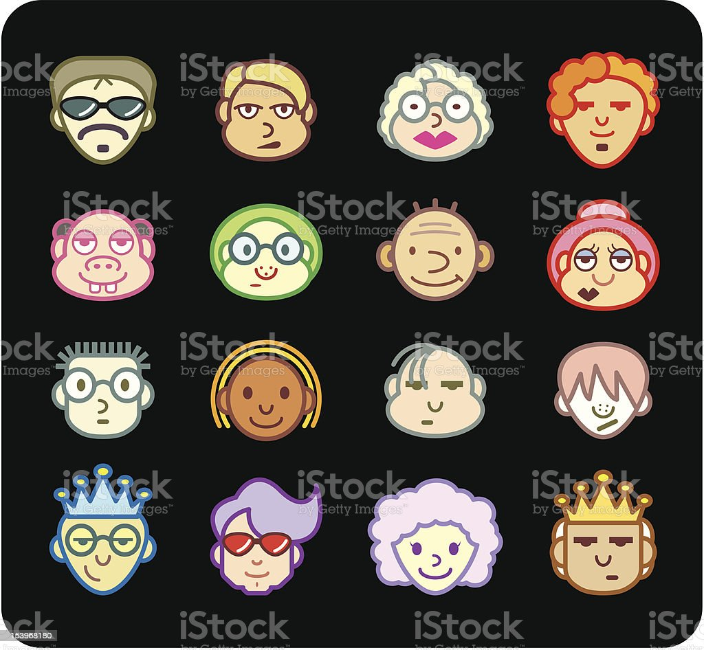 Color Icon | Faces royalty-free color icon faces stock vector art & more images of adult