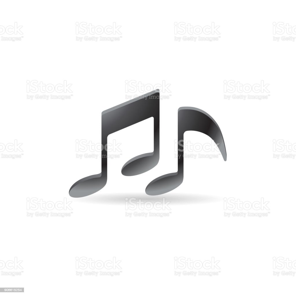 Color Icon - Music notes vector art illustration