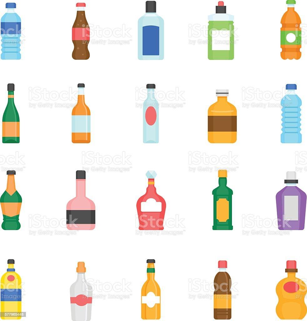 Color icon set - bottle and beverage vector art illustration