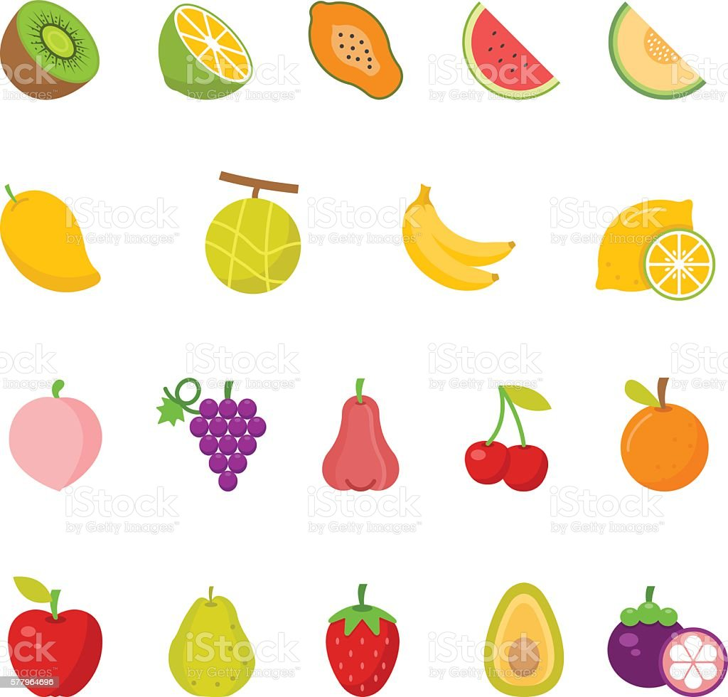 Color icon set - Fruits vector art illustration