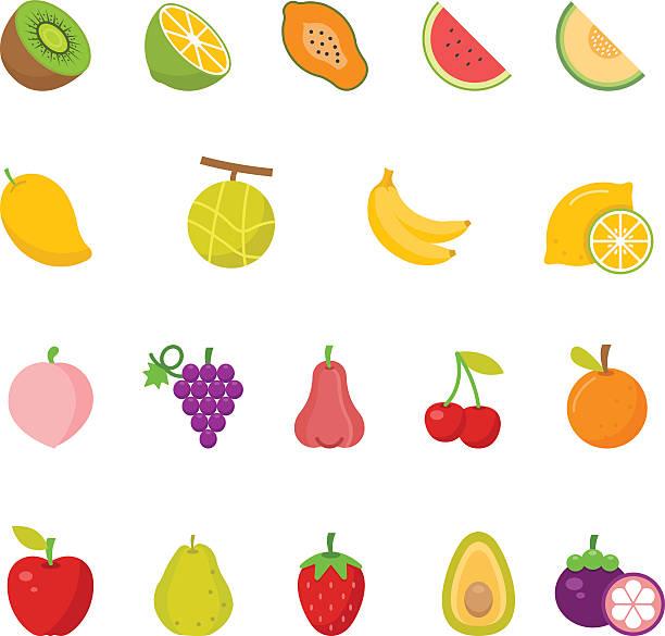 Color icon set - Fruits Color icon set - Fruits vector illustration avocado silhouettes stock illustrations