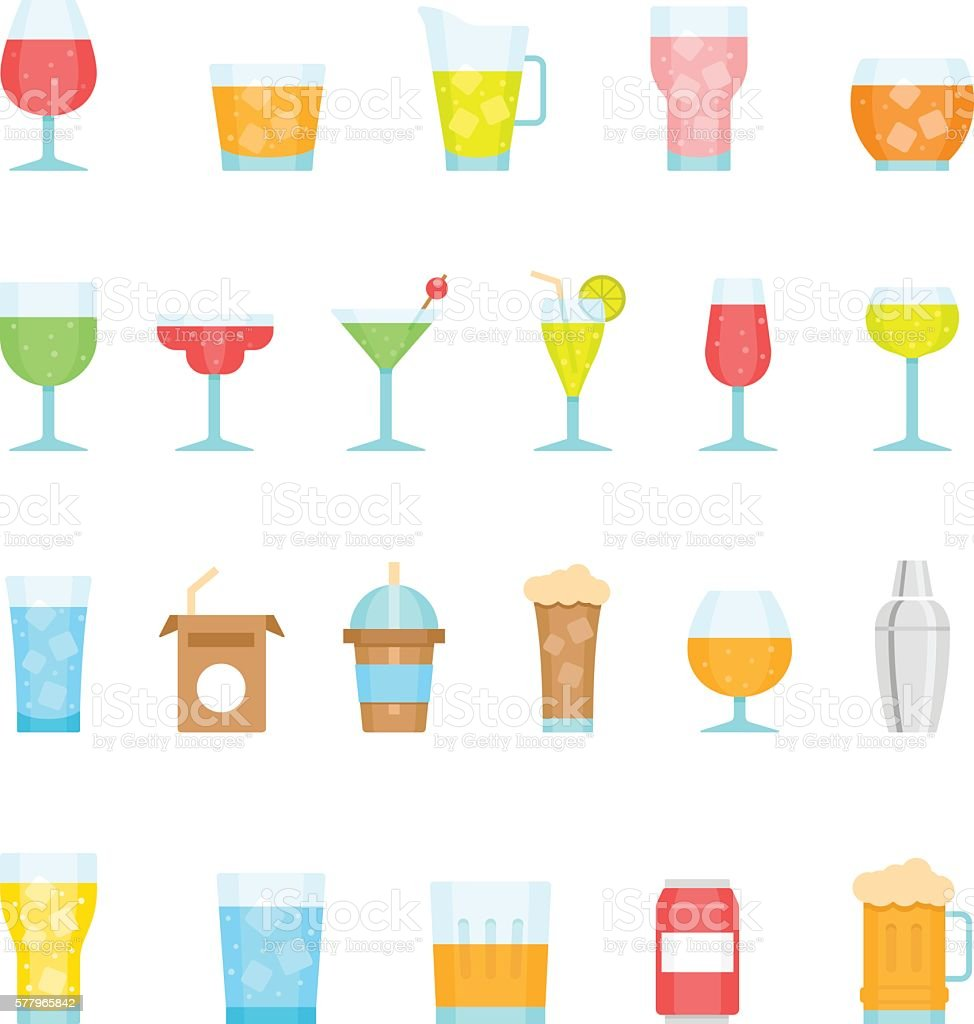 Color icon set - glass and beverage - illustrazione arte vettoriale