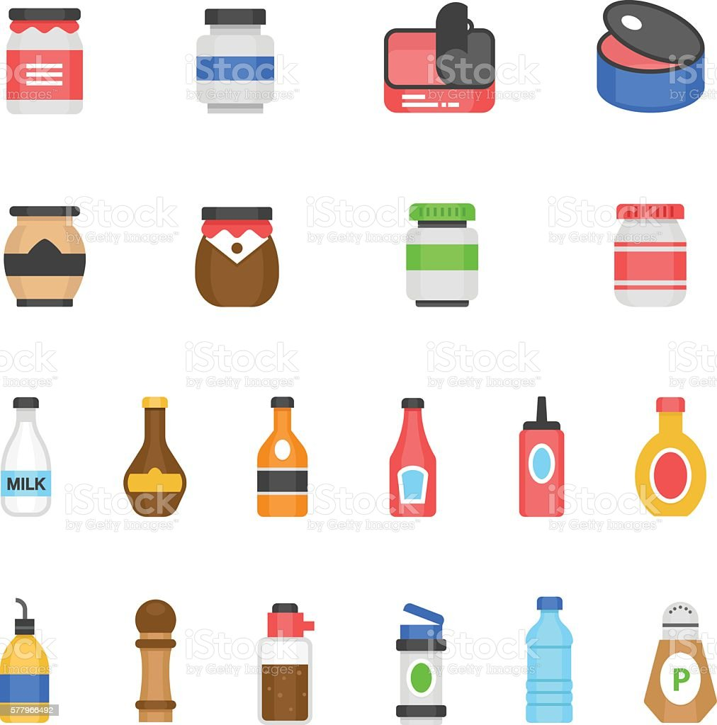 Color icon set - ketchup - ilustración de arte vectorial