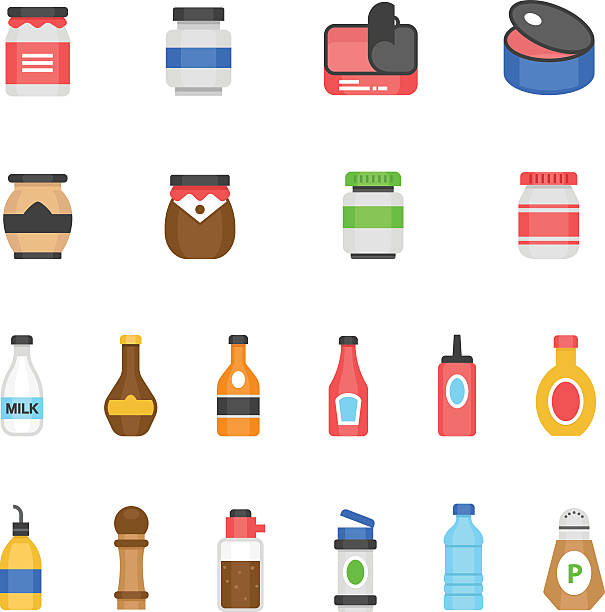 color icon set - ketchup - zutaten stock-grafiken, -clipart, -cartoons und -symbole