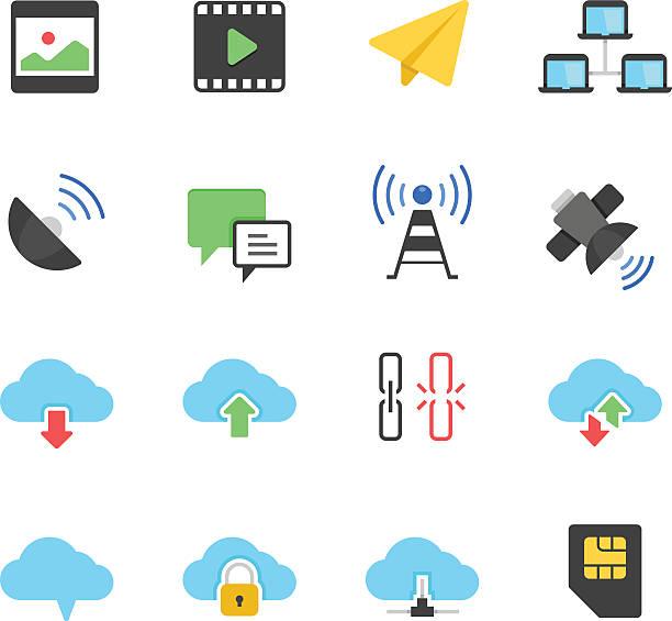 bildbanksillustrationer, clip art samt tecknat material och ikoner med color icon set - network communication - chain studio
