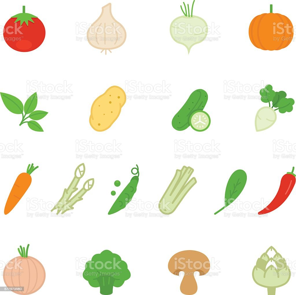 color icon set vegetable アイコンのベクターアート素材や画像を多数