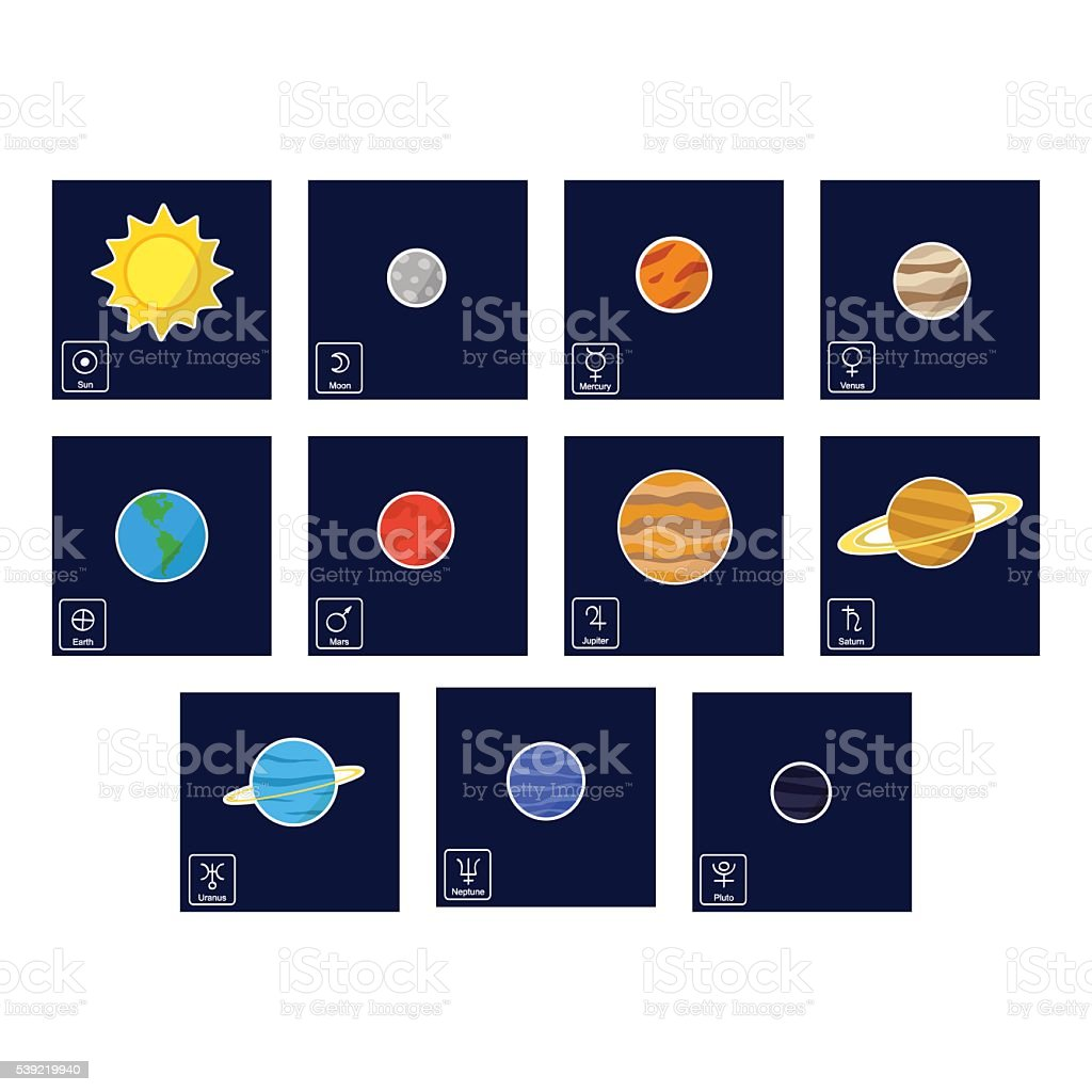 Color Icon Set With Planets And Astrology Symbols Of Planets Stock