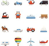 16 color icons representing different transportation symbols.