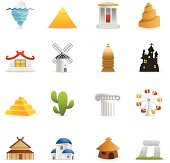 16 color icons representing different Travel Monuments.