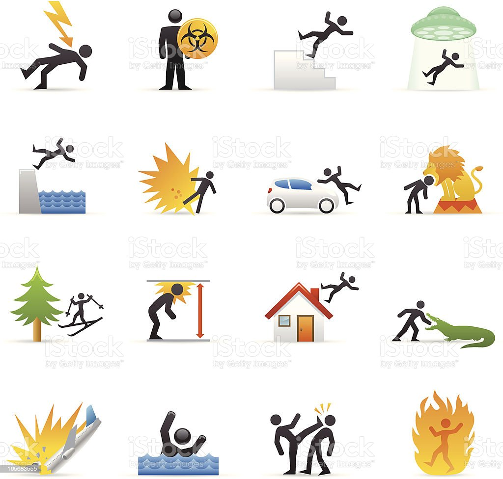 Color Icons - Accidents royalty-free color icons accidents stock vector art & more images of accidents and disasters