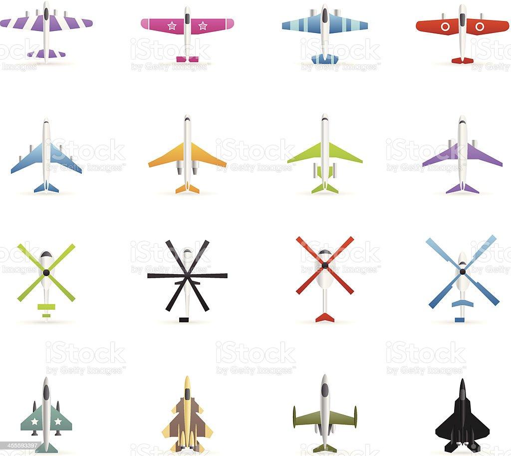 Ilustración de Iconos De Colores De Aviones Helicópteros y más banco ...