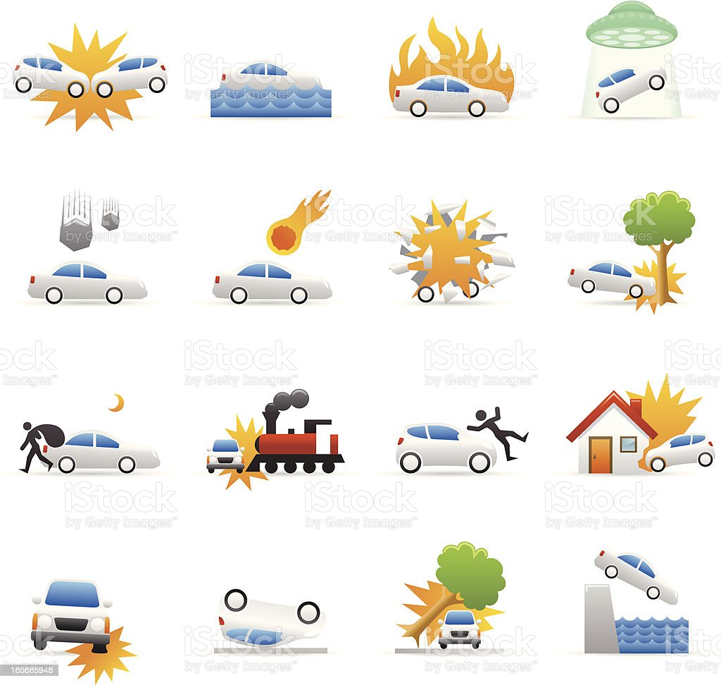 Color Icons - Car Disaster royalty-free stock vector art